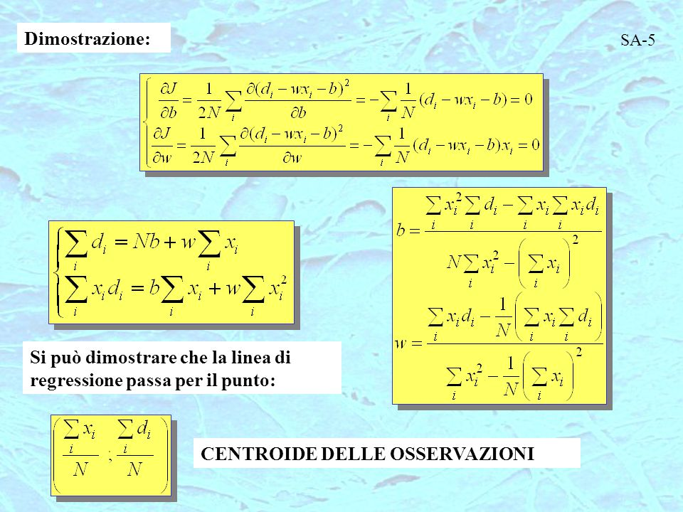 Possono essere usati schemi alternativi (regole geometriche, logaritmiche, etc.) (  piccola costante) REGRESSIONE PER VARIABILI MULTIPLE Sia d funzione di x 1, x 2,..., x d La migliore regressione lineare sarà un iperpiano di dimensione D.