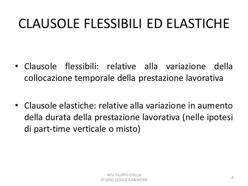 CLAUSOLE FLESSIBILI ED ELASTICHE Clausole flessibili: relative alla variazione della collocazione temporale della prestazione lavorativa Clausole elas