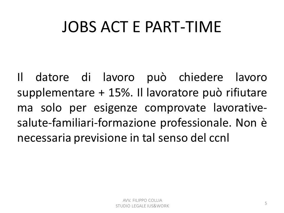 JOBS ACT E PART-TIME Il datore di lavoro può chiedere lavoro supplementare + 15%. Il lavoratore può rifiutare ma solo per esigenze comprovate lavorati