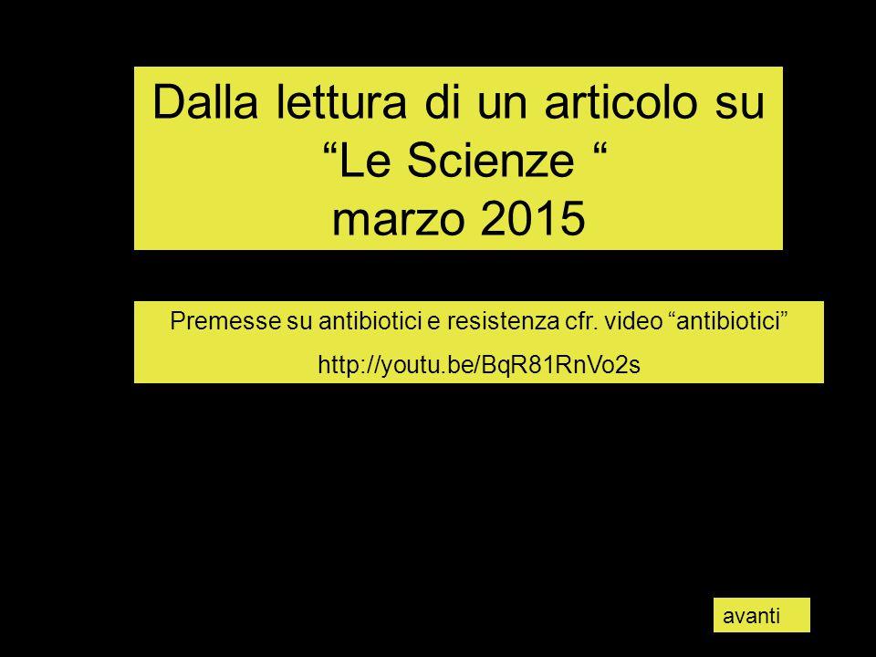 Dalla lettura di un articolo su Le Scienze marzo 2015 Premesse su antibiotici e resistenza cfr.