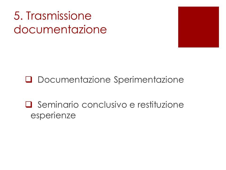5. Trasmissione documentazione  Documentazione Sperimentazione  Seminario conclusivo e restituzione esperienze