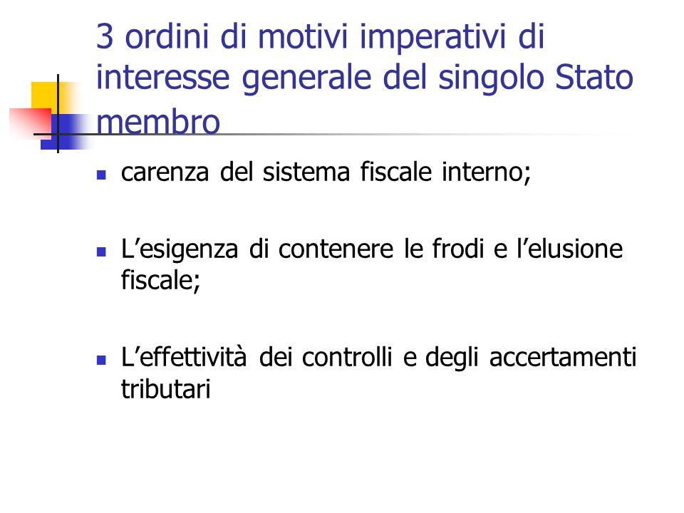3 ordini di motivi imperativi di interesse generale del singolo Stato membro carenza del sistema fiscale interno; L'esigenza di contenere le frodi e l