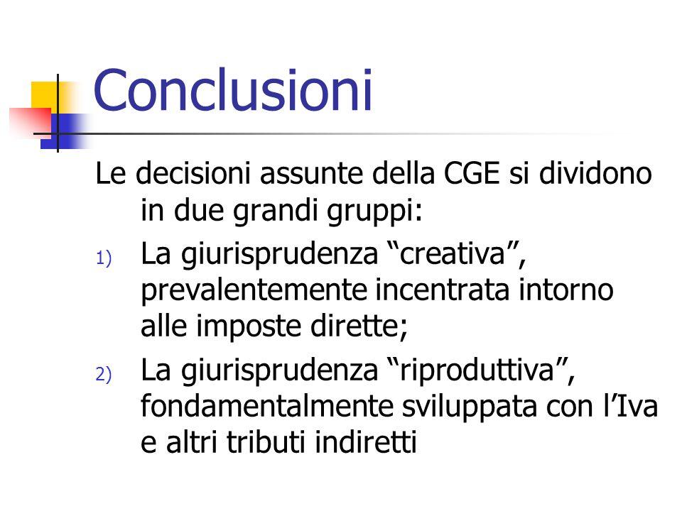 """Conclusioni Le decisioni assunte della CGE si dividono in due grandi gruppi: 1) La giurisprudenza """"creativa"""", prevalentemente incentrata intorno alle"""