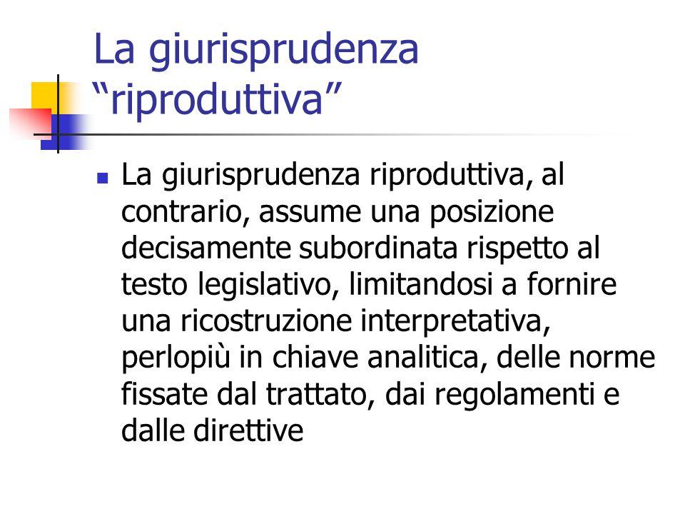 """La giurisprudenza """"riproduttiva"""" La giurisprudenza riproduttiva, al contrario, assume una posizione decisamente subordinata rispetto al testo legislat"""