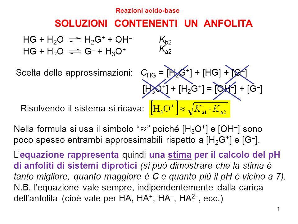 22 DIAGRAMMI DI DISTRIBUZIONE Reazioni acido-base Caso generale dell'acido debole monoprotico Poiché  HA ed  A dipendono solo da K a e pH, il diagramma di distribuzione non dipende dal fatto di avere inserito al tempo zero l'acido HA o la base coniugata A Ad esempio, se poniamo del paracetamolato di sodio (NaA) a qualunque concentrazione iniziale in una soluzione tamponata ad un certo pH, le frazioni di HA ed A sono le stesse che avremmo ponendo del paracetamolo allo stesso pH.