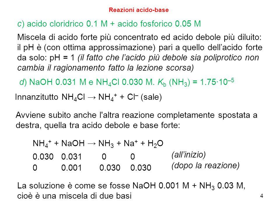 4 Reazioni acido-base c) acido cloridrico 0.1 M + acido fosforico 0.05 M Miscela di acido forte più concentrato ed acido debole più diluito: il pH è (