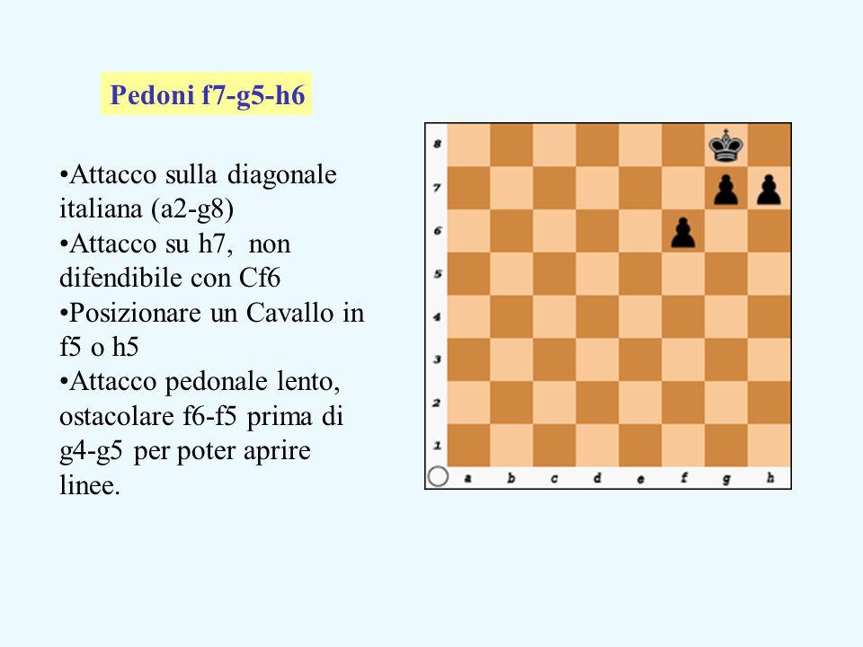 Attacco sulla diagonale italiana (a2-g8) Attacco su h7, non difendibile con Cf6 Posizionare un Cavallo in f5 o h5 Attacco pedonale lento, ostacolare f6-f5 prima di g4-g5 per poter aprire linee.