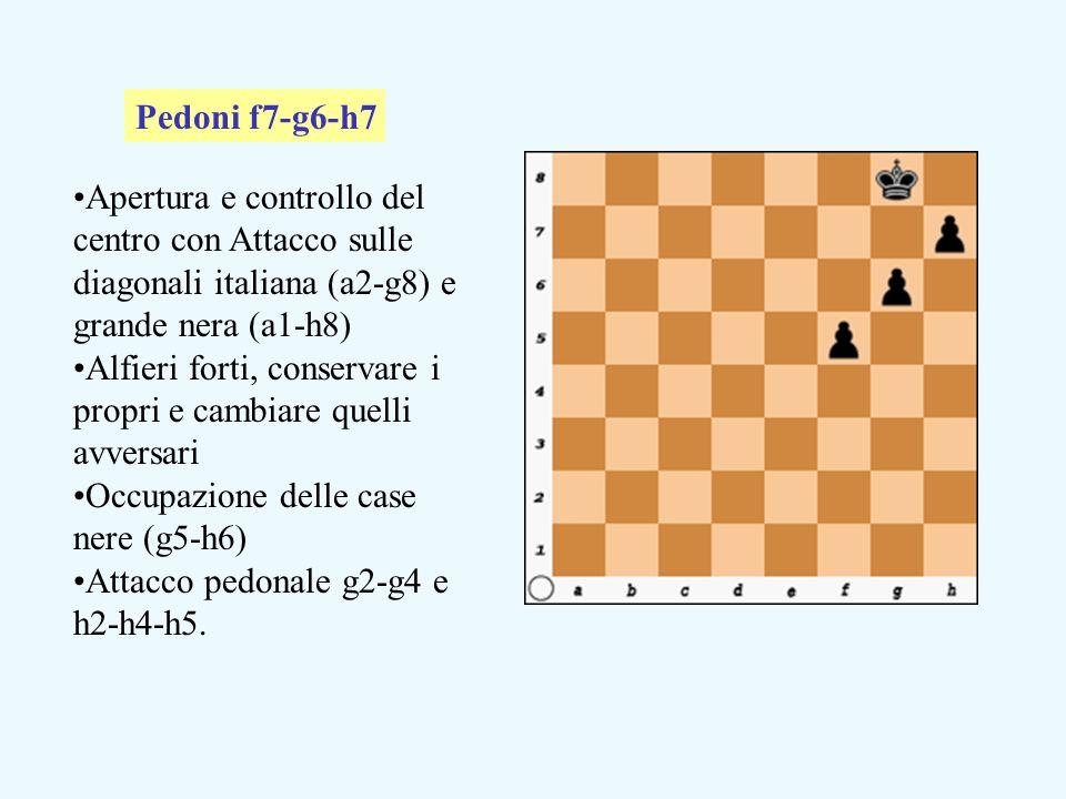 Apertura e controllo del centro con Attacco sulle diagonali italiana (a2-g8) e grande nera (a1-h8) Alfieri forti, conservare i propri e cambiare quelli avversari Occupazione delle case nere (g5-h6) Attacco pedonale g2-g4 e h2-h4-h5.