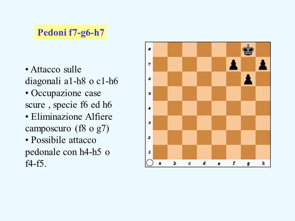 Attacco sulle diagonali a1-h8 o c1-h6 Occupazione case scure, specie f6 ed h6 Eliminazione Alfiere camposcuro (f8 o g7) Possibile attacco pedonale con h4-h5 o f4-f5.
