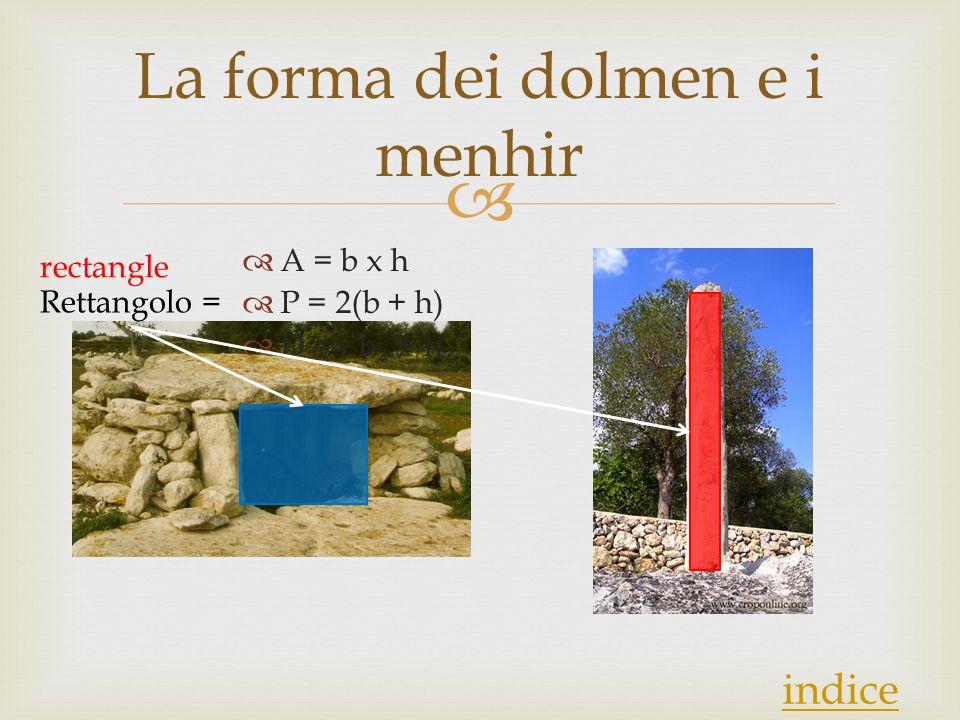  La forma dei dolmen e i menhir  A = b x h  P = 2(b + h)  D =√ b ₂ + h ₂ Rettangolo = indice rectangle