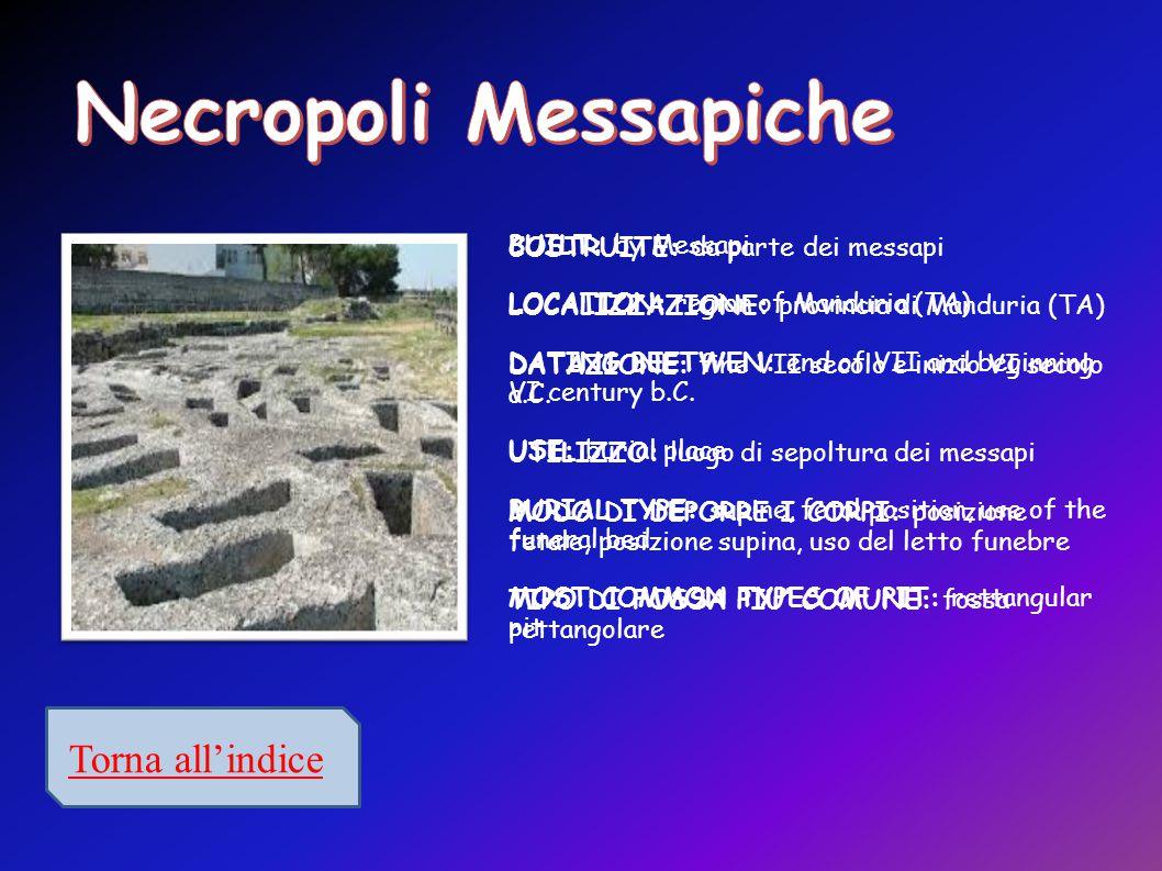 Torna all'indice BUILT: by Messapi LOCATION: region of Manduria (TA) DATING BEETWEN: end of VII and beginning VI century b.C.