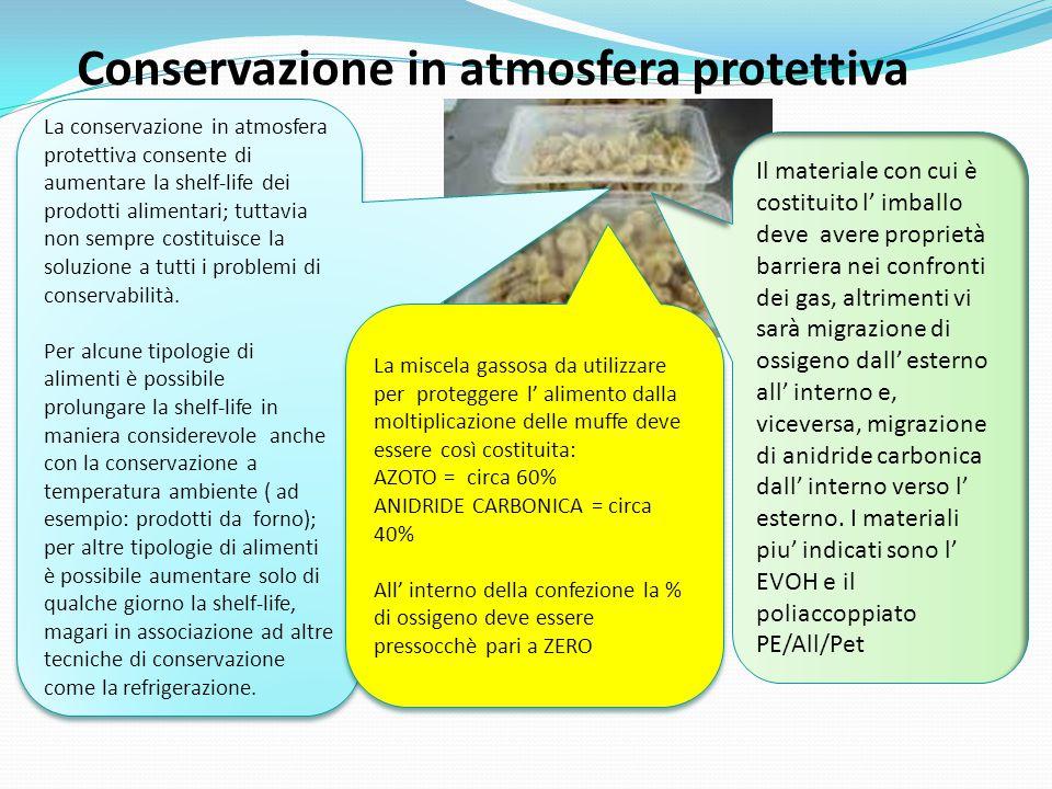 Conservazione in atmosfera protettiva La conservazione in atmosfera protettiva consente di aumentare la shelf-life dei prodotti alimentari; tuttavia n