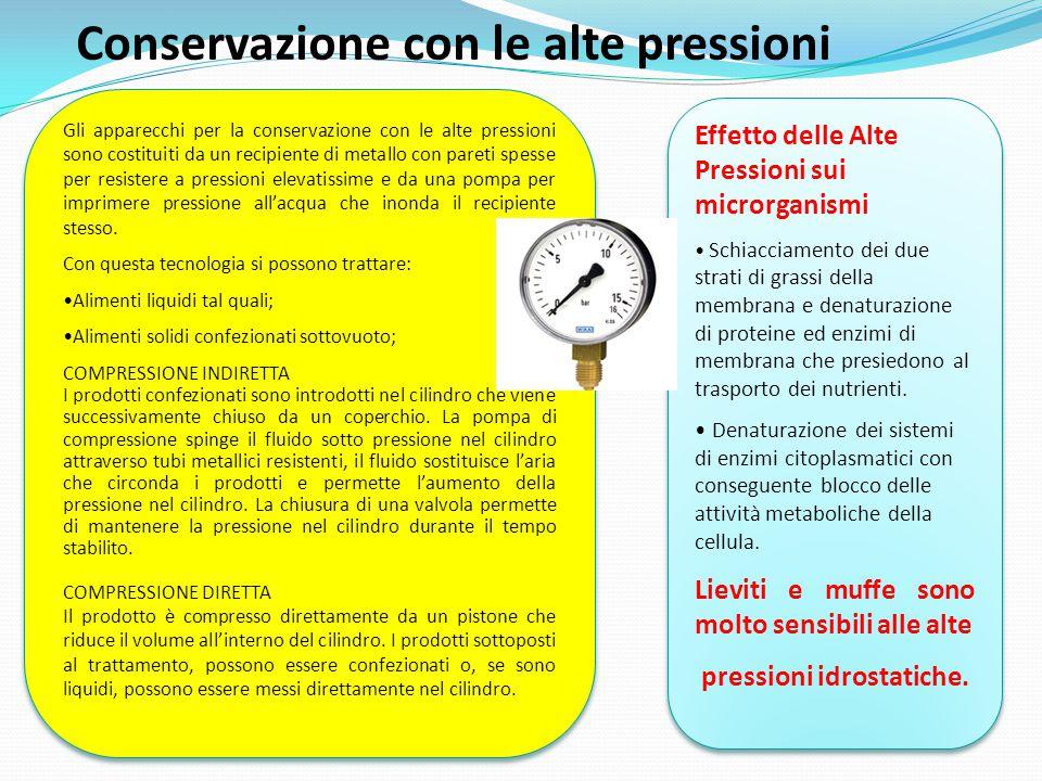 Conservazione con le alte pressioni Gli apparecchi per la conservazione con le alte pressioni sono costituiti da un recipiente di metallo con pareti s