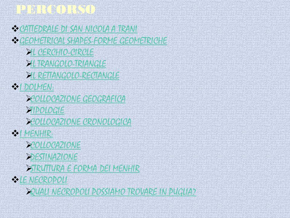 PERCORSO  CATTEDRALE DI SAN NICOLA A TRANI CATTEDRALE DI SAN NICOLA A TRANI  GEOMETRICAL SHAPES-FORME GEOMETRICHE GEOMETRICAL SHAPES-FORME GEOMETRICHE  IL CERCHIO-CIRCLE IL CERCHIO-CIRCLE  IL TRANGOLO-TRIANGLE IL TRANGOLO-TRIANGLE  IL RETTANGOLO-RECTANGLE IL RETTANGOLO-RECTANGLE  I DOLMEN: I DOLMEN:  COLLOCAZIONE GEOGRAFICA COLLOCAZIONE GEOGRAFICA  TIPOLOGIE TIPOLOGIE  COLLOCAZIONE CRONOLOGICA COLLOCAZIONE CRONOLOGICA  I MENHIR: I MENHIR:  COLLOCAZIONE COLLOCAZIONE  DESTINAZIONE DESTINAZIONE  STRUTTURA E FORMA DEI MENHIR STRUTTURA E FORMA DEI MENHIR  LE NECROPOLI LE NECROPOLI  QUALI NECROPOLI POSSIAMO TROVARE IN PUGLIA.