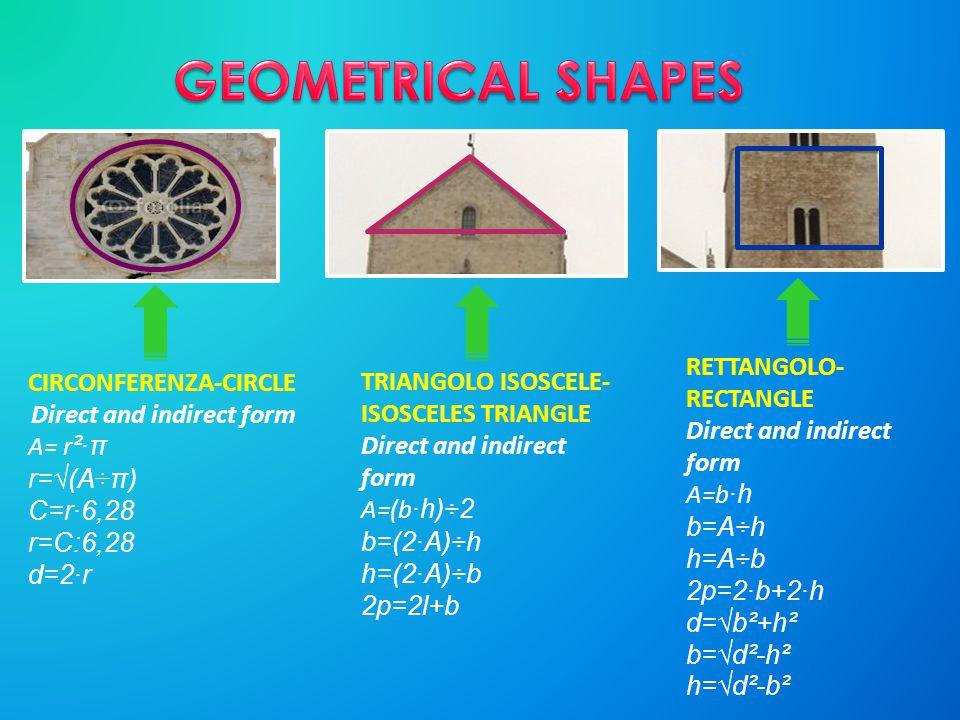 CIRCONFERENZA-CIRCLE Direct and indirect form A= r ²·π r=√(A÷π) C=r·6,28 r=C:6,28 d=2·r TRIANGOLO ISOSCELE- ISOSCELES TRIANGLE Direct and indirect for