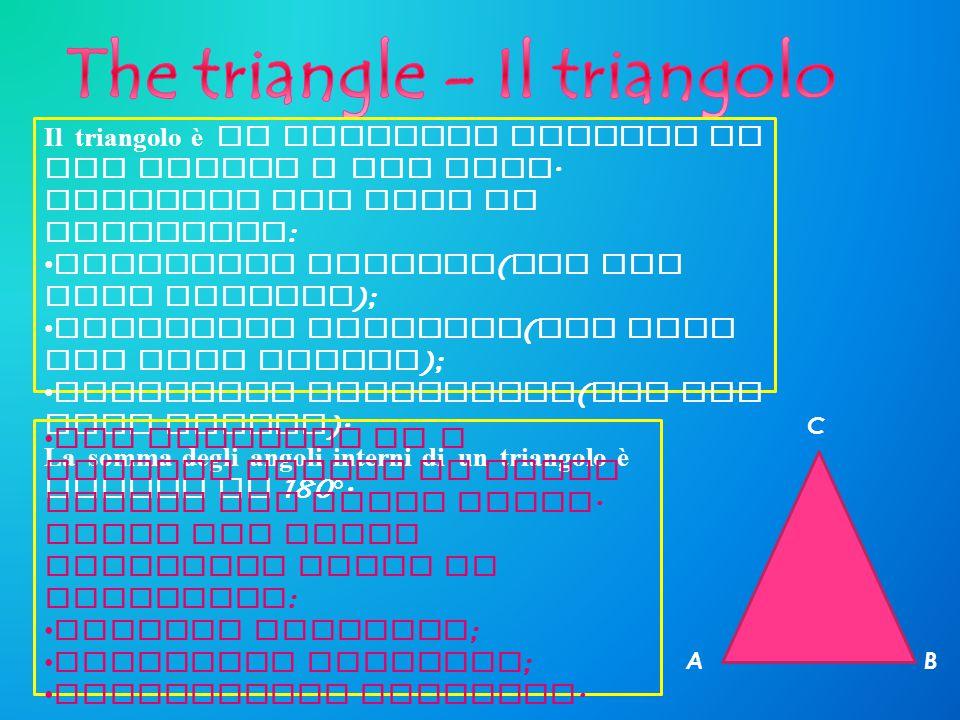 Il t riangolo è u n p oligono f ormato d a tre a ngoli e t re l ati. Esistono t re t ipi d i triangoli : Triangolo s caleno ( con t re lati d iversi )