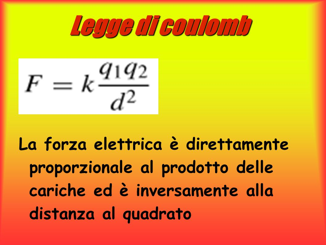 Legge di coulomb La forza elettrica è direttamente proporzionale al prodotto delle cariche ed è inversamente alla distanza al quadrato