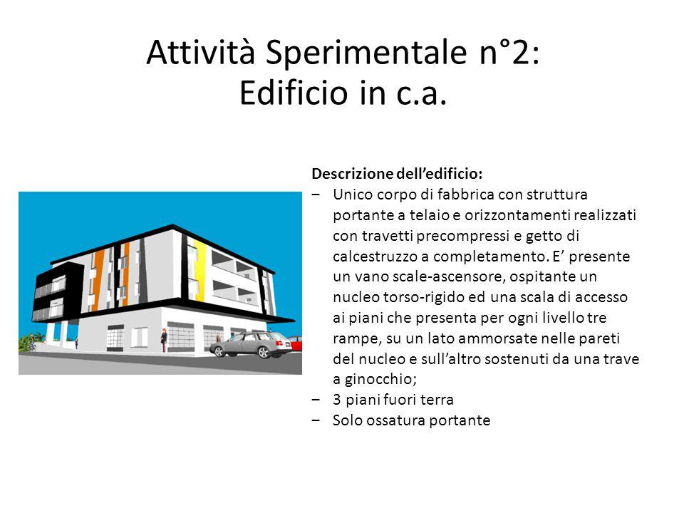 Attività Sperimentale n°2: Edificio in c.a. Descrizione dell'edificio: ‒Unico corpo di fabbrica con struttura portante a telaio e orizzontamenti reali