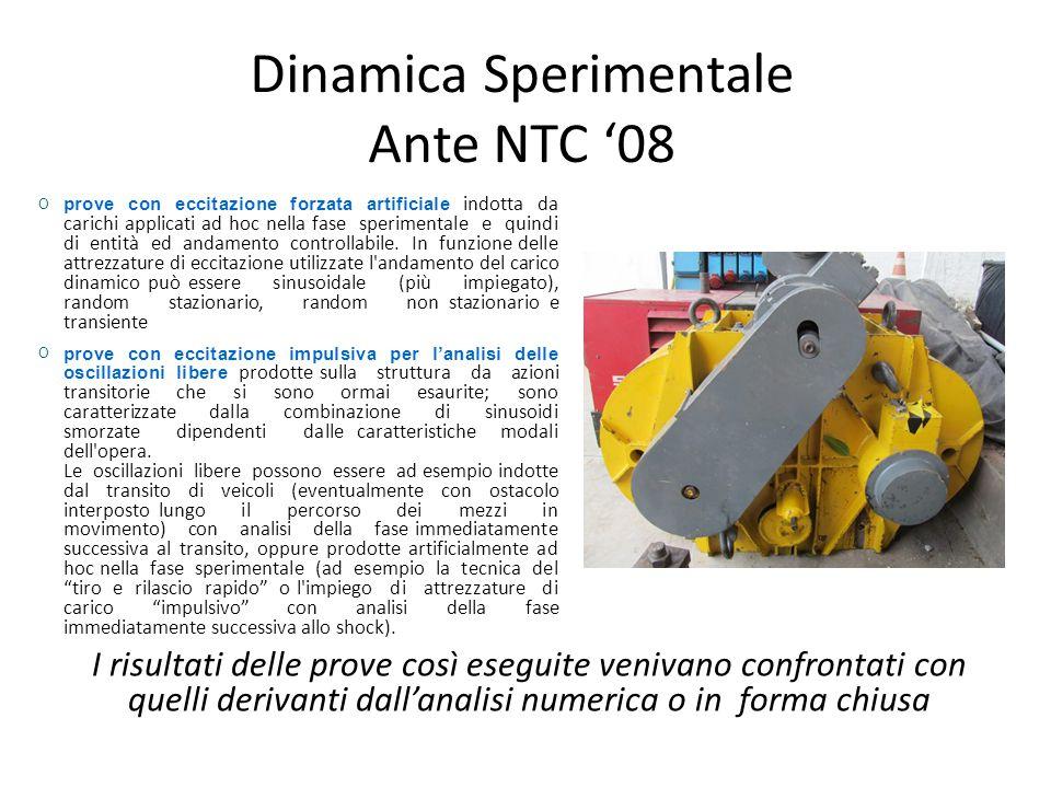 Dinamica Sperimentale Ante NTC '08 prove con eccitazione forzata artificiale indotta da carichi applicati ad hoc nella fase sperimentale e quindi di e