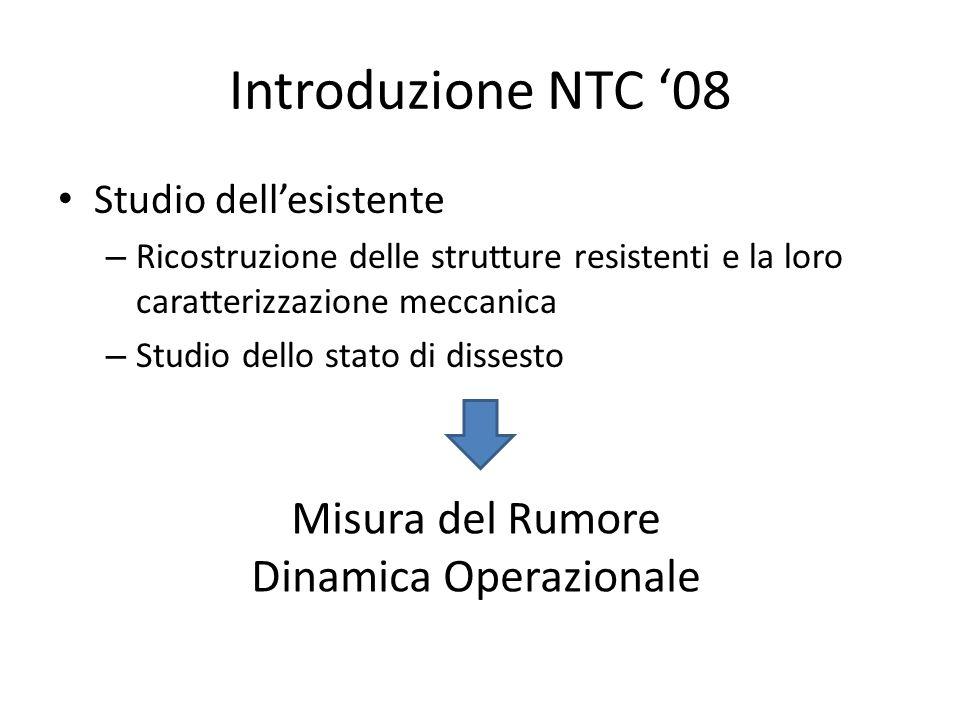 Introduzione NTC '08 Studio dell'esistente – Ricostruzione delle strutture resistenti e la loro caratterizzazione meccanica – Studio dello stato di di