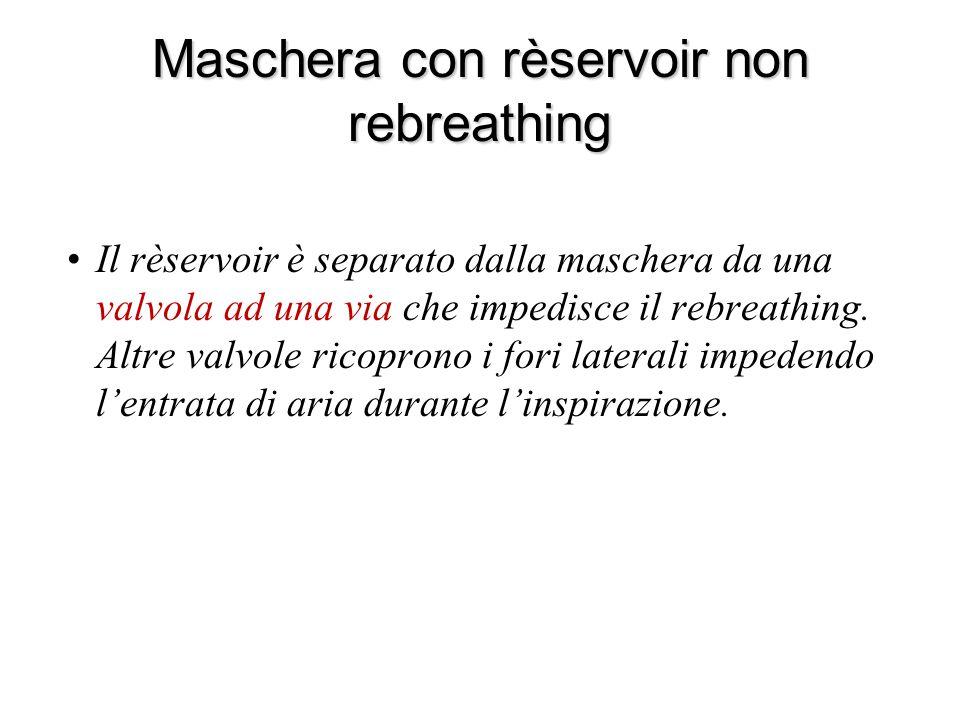 Maschera con rèservoir non rebreathing Il rèservoir è separato dalla maschera da una valvola ad una via che impedisce il rebreathing. Altre valvole ri