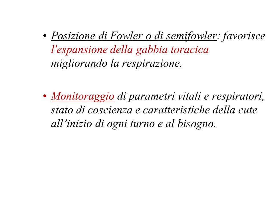 Posizione di Fowler o di semifowler: favorisce l'espansione della gabbia toracica migliorando la respirazione. Monitoraggio di parametri vitali e resp