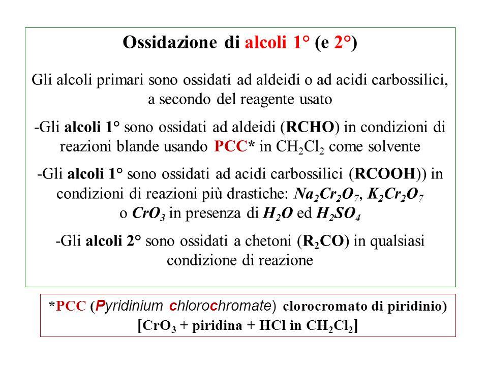 Ossidazione di alcoli 1° (e 2°) Gli alcoli primari sono ossidati ad aldeidi o ad acidi carbossilici, a secondo del reagente usato -Gli alcoli 1° sono ossidati ad aldeidi (RCHO) in condizioni di reazioni blande usando PCC* in CH 2 Cl 2 come solvente -Gli alcoli 1° sono ossidati ad acidi carbossilici (RCOOH)) in condizioni di reazioni più drastiche: Na 2 Cr 2 O 7, K 2 Cr 2 O 7 o CrO 3 in presenza di H 2 O ed H 2 SO 4 -Gli alcoli 2° sono ossidati a chetoni (R 2 CO) in qualsiasi condizione di reazione *PCC ( Pyridinium chlorochromate) clorocromato di piridinio) [ CrO 3 + piridina + HCl in CH 2 Cl 2 ]