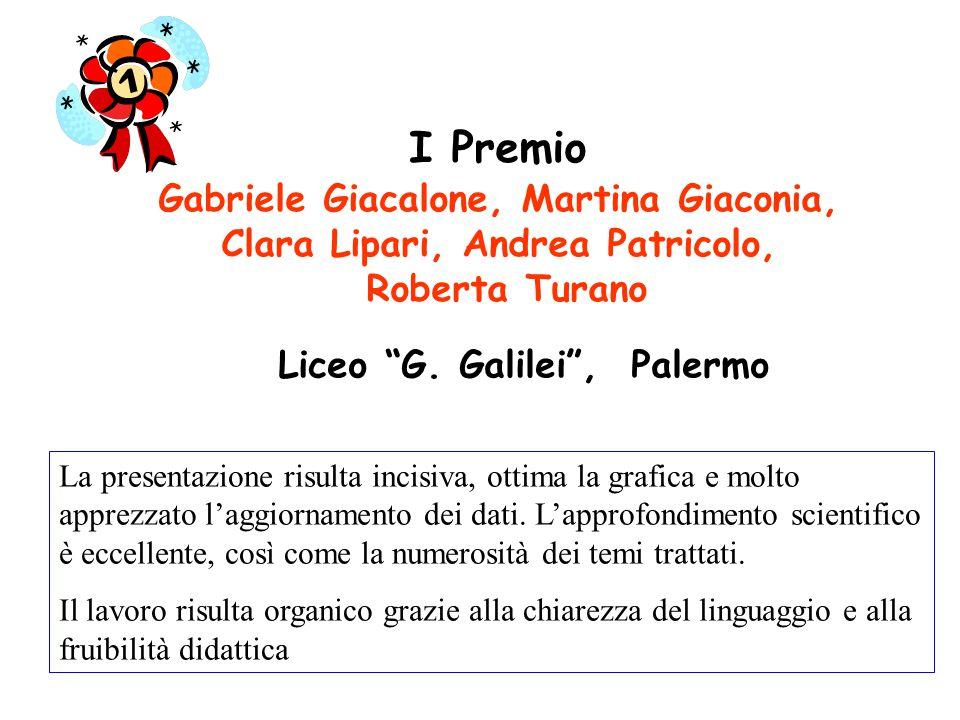 I Premio Gabriele Giacalone, Martina Giaconia, Clara Lipari, Andrea Patricolo, Roberta Turano La presentazione risulta incisiva, ottima la grafica e molto apprezzato l'aggiornamento dei dati.