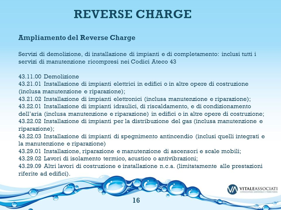 Ampliamento del Reverse Charge Servizi di demolizione, di installazione di impianti e di completamento: inclusi tutti i servizi di manutenzione ricomp