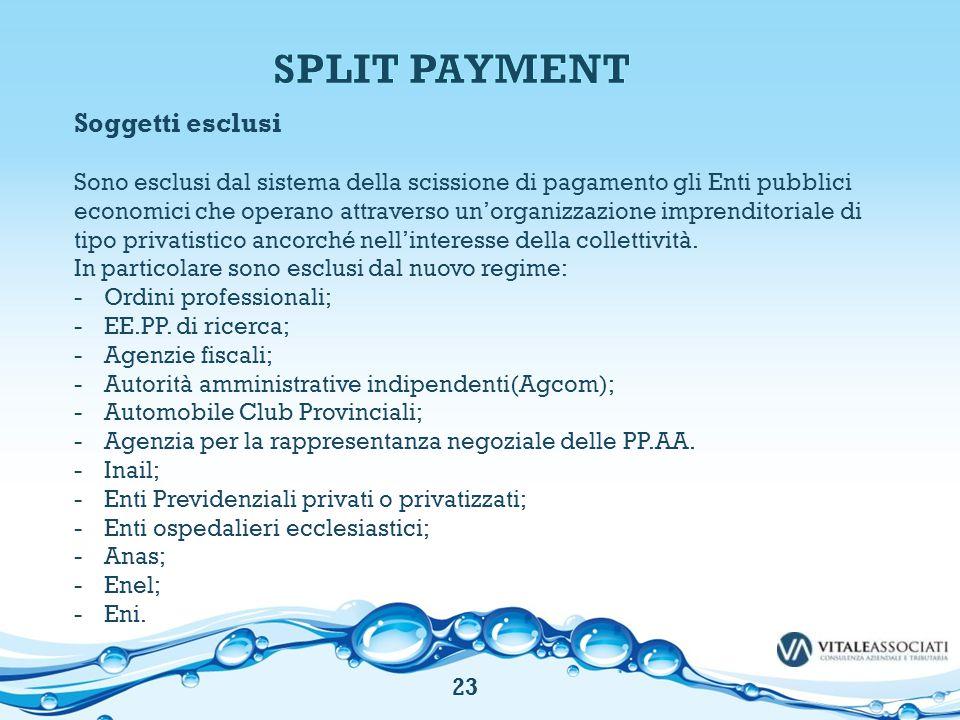 Soggetti esclusi Sono esclusi dal sistema della scissione di pagamento gli Enti pubblici economici che operano attraverso un'organizzazione imprendito