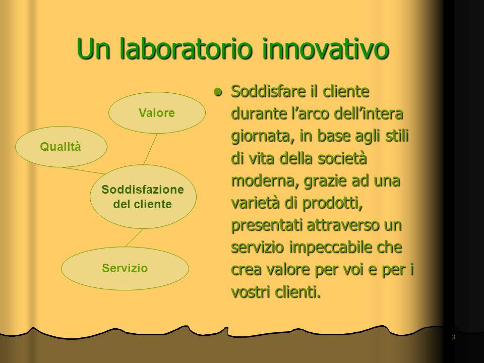 3 Un laboratorio innovativo Soddisfare il cliente durante l'arco dell'intera giornata, in base agli stili di vita della società moderna, grazie ad una