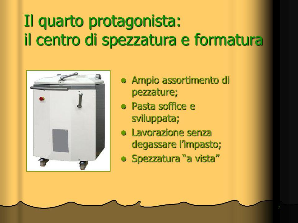 7 Il quarto protagonista: il centro di spezzatura e formatura Ampio assortimento di pezzature; Ampio assortimento di pezzature; Pasta soffice e svilup