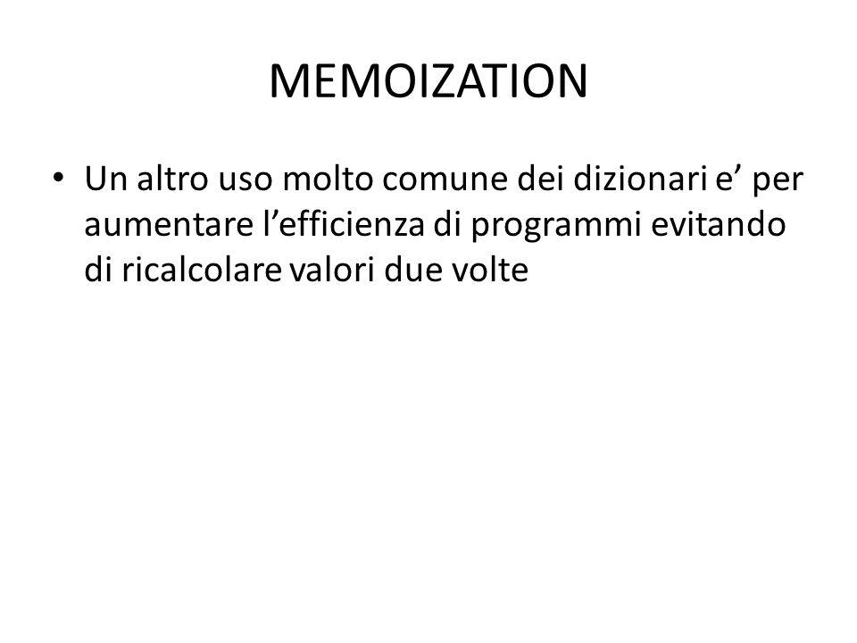 MEMOIZATION Un altro uso molto comune dei dizionari e' per aumentare l'efficienza di programmi evitando di ricalcolare valori due volte