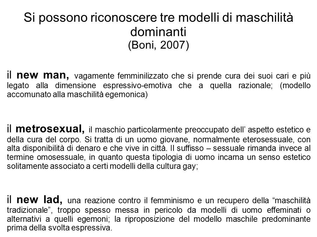 Si possono riconoscere tre modelli di maschilità dominanti (Boni, 2007) il new man, vagamente femminilizzato che si prende cura dei suoi cari e più le