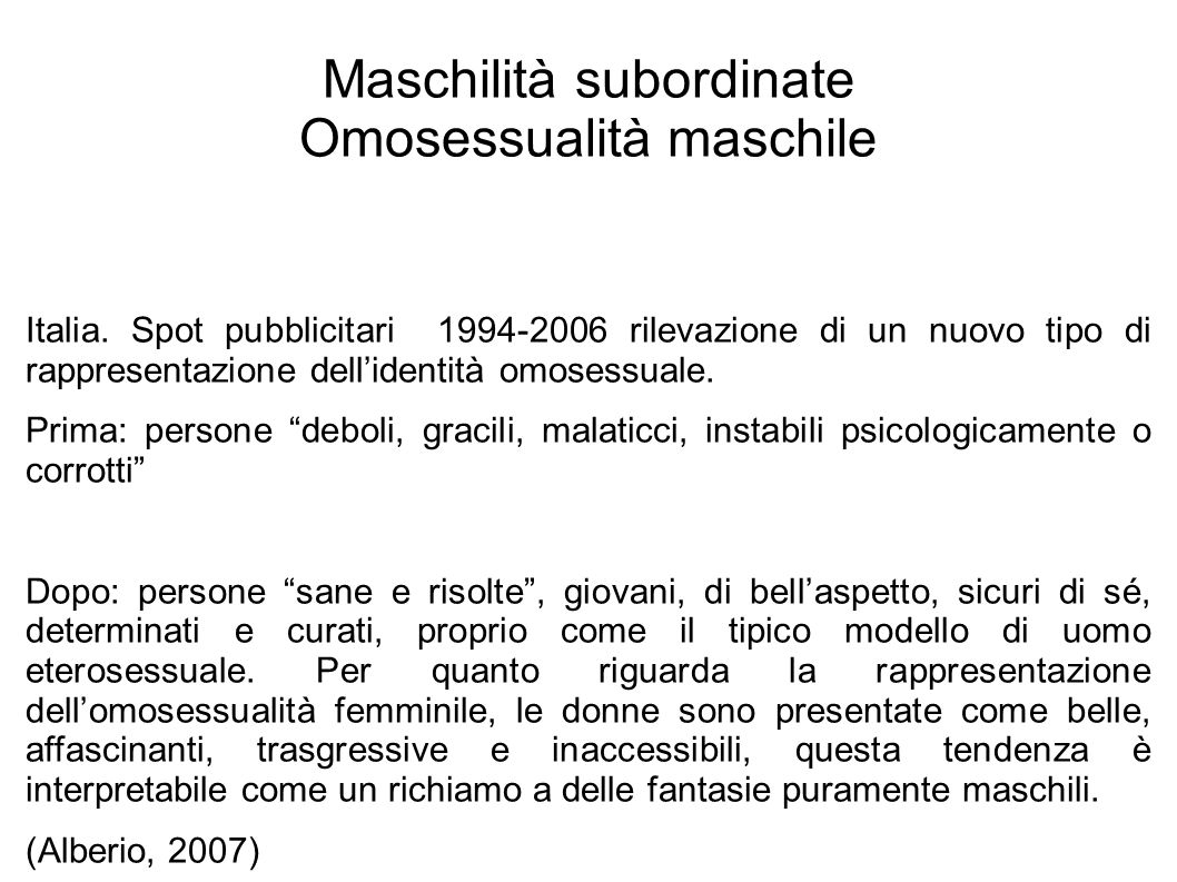 Maschilità subordinate Omosessualità maschile Italia. Spot pubblicitari 1994-2006 rilevazione di un nuovo tipo di rappresentazione dell'identità omose