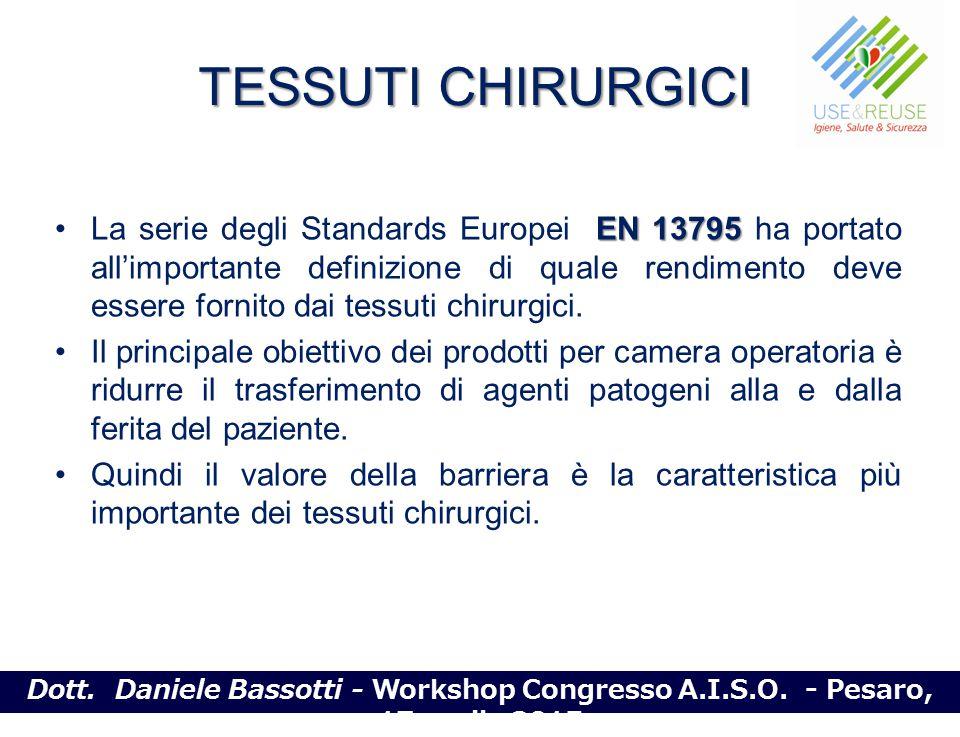 TESSUTI CHIRURGICI EN 13795La serie degli Standards Europei EN 13795 ha portato all'importante definizione di quale rendimento deve essere fornito dai