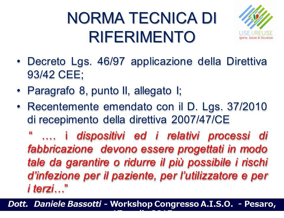 NORMA TECNICA DI RIFERIMENTO Decreto Lgs. 46/97 applicazione della Direttiva 93/42 CEE; Paragrafo 8, punto II, allegato I; Recentemente emendato con i