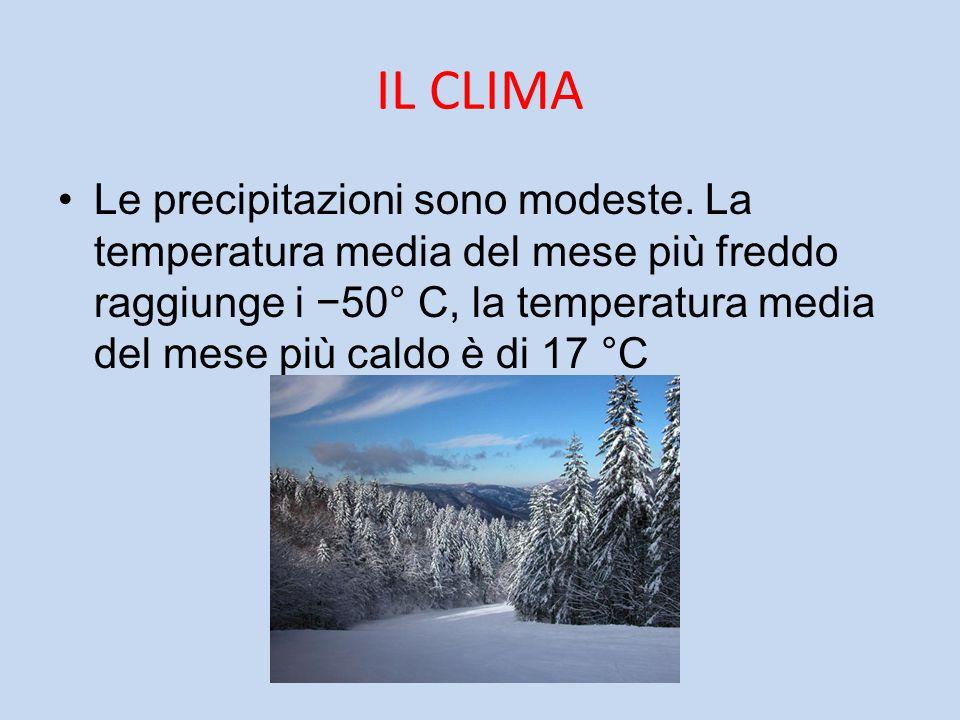 IL CLIMA Le precipitazioni sono modeste. La temperatura media del mese più freddo raggiunge i −50° C, la temperatura media del mese più caldo è di 17