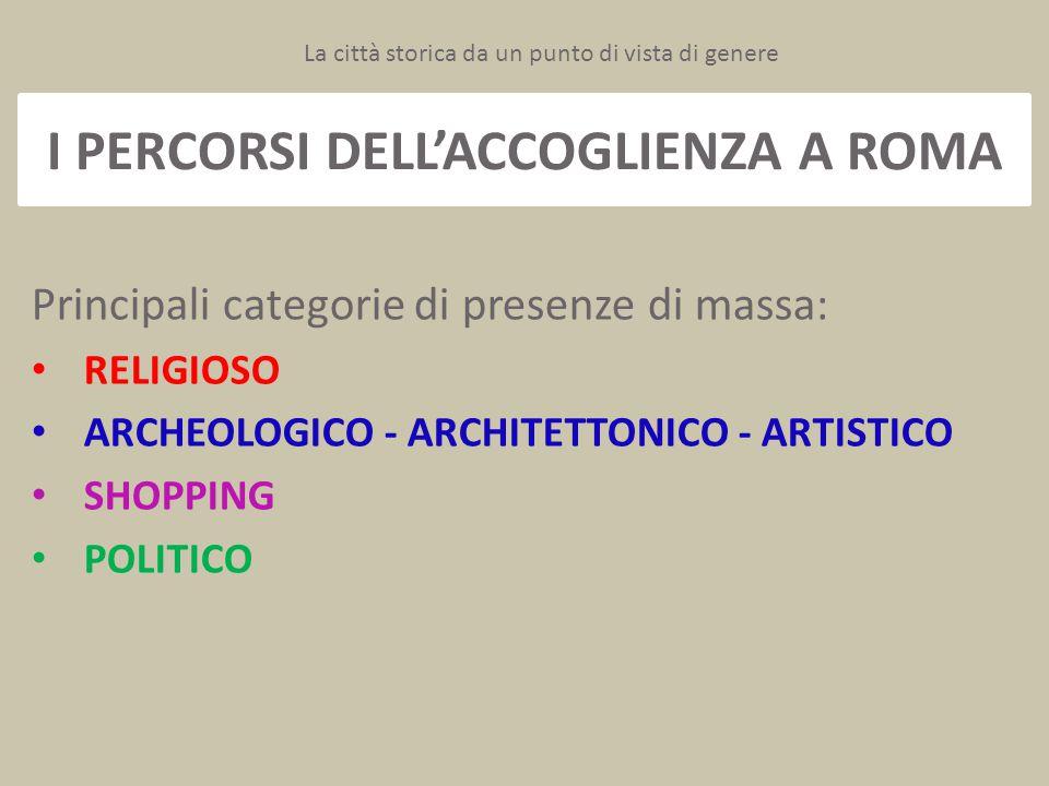 I PERCORSI DELL'ACCOGLIENZA A ROMA Principali categorie di presenze di massa: RELIGIOSO ARCHEOLOGICO - ARCHITETTONICO - ARTISTICO SHOPPING POLITICO La