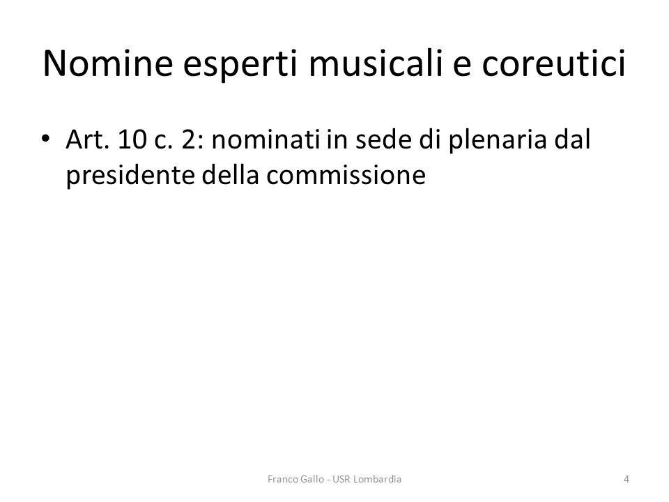 Nomine esperti musicali e coreutici Art. 10 c. 2: nominati in sede di plenaria dal presidente della commissione Franco Gallo - USR Lombardia4