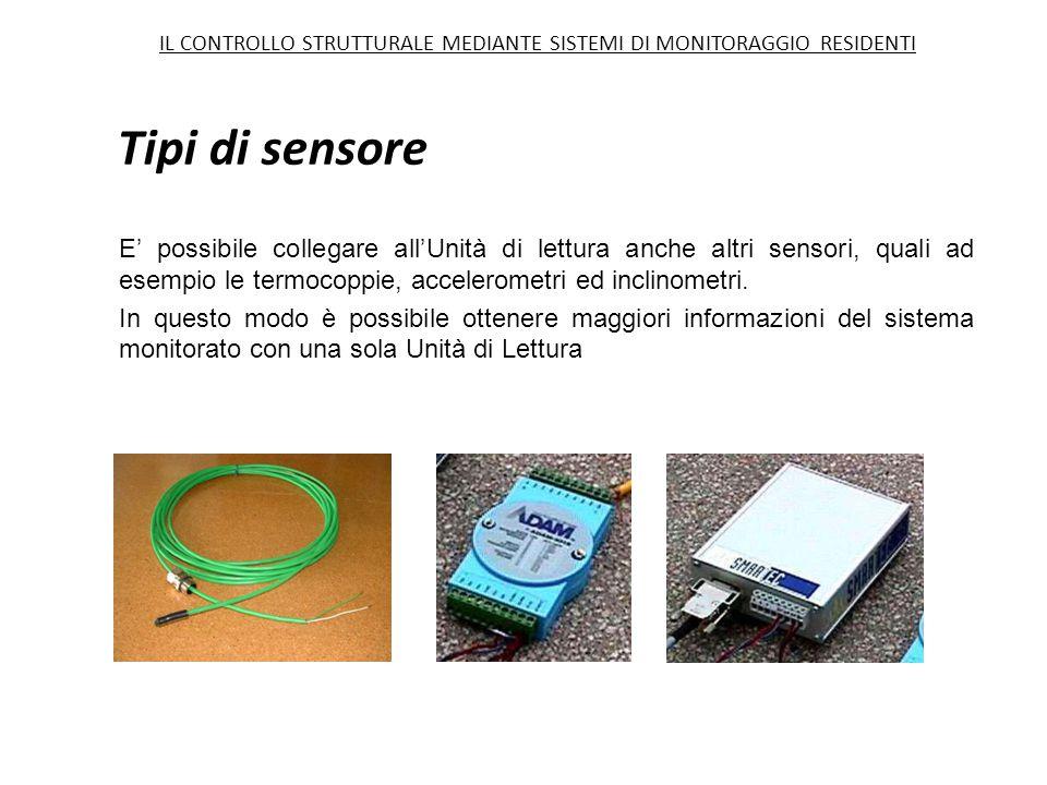 Tipi di sensore E' possibile collegare all'Unità di lettura anche altri sensori, quali ad esempio le termocoppie, accelerometri ed inclinometri. In qu