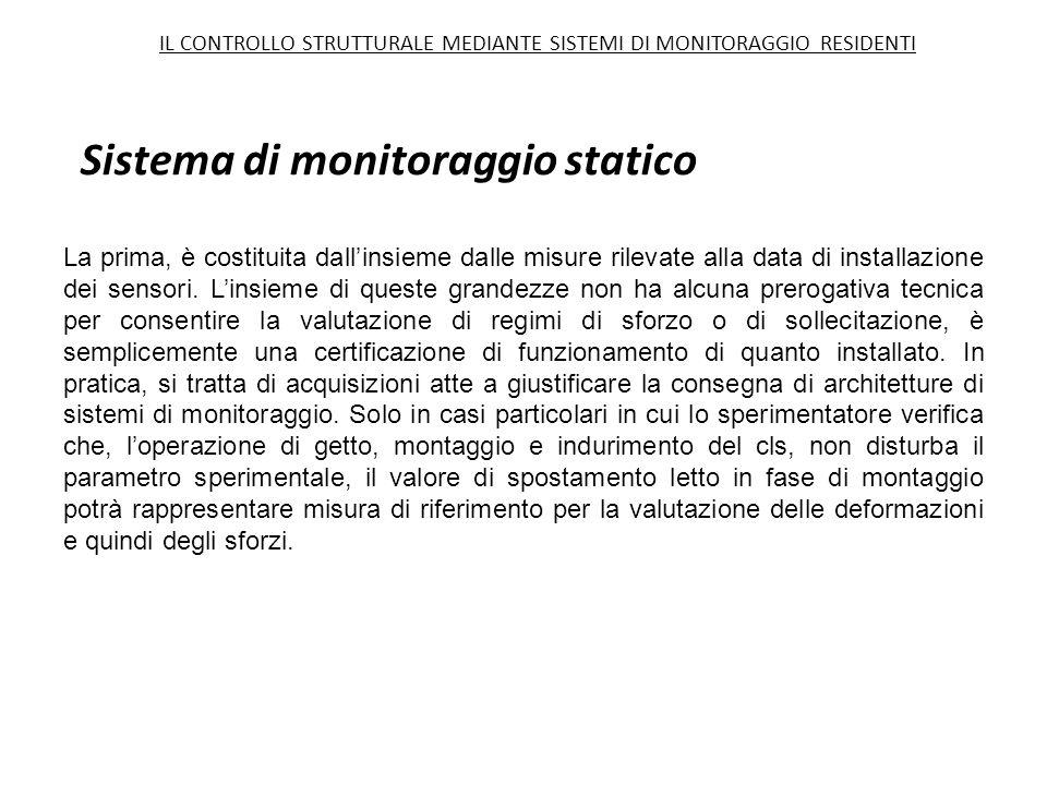 Sistema di monitoraggio statico La prima, è costituita dall'insieme dalle misure rilevate alla data di installazione dei sensori. L'insieme di queste
