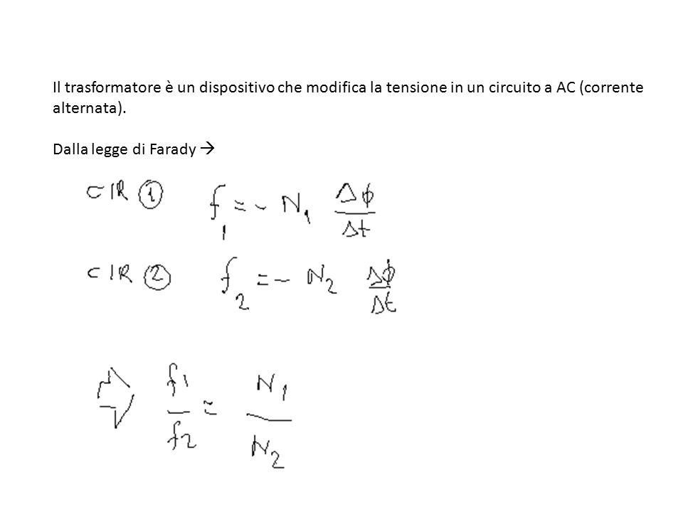 Il trasformatore è un dispositivo che modifica la tensione in un circuito a AC (corrente alternata). Dalla legge di Farady 