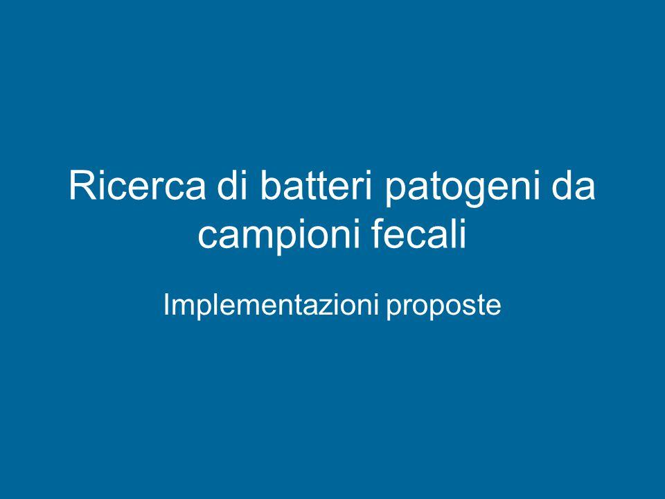 Ricerca di batteri patogeni da campioni fecali Implementazioni proposte