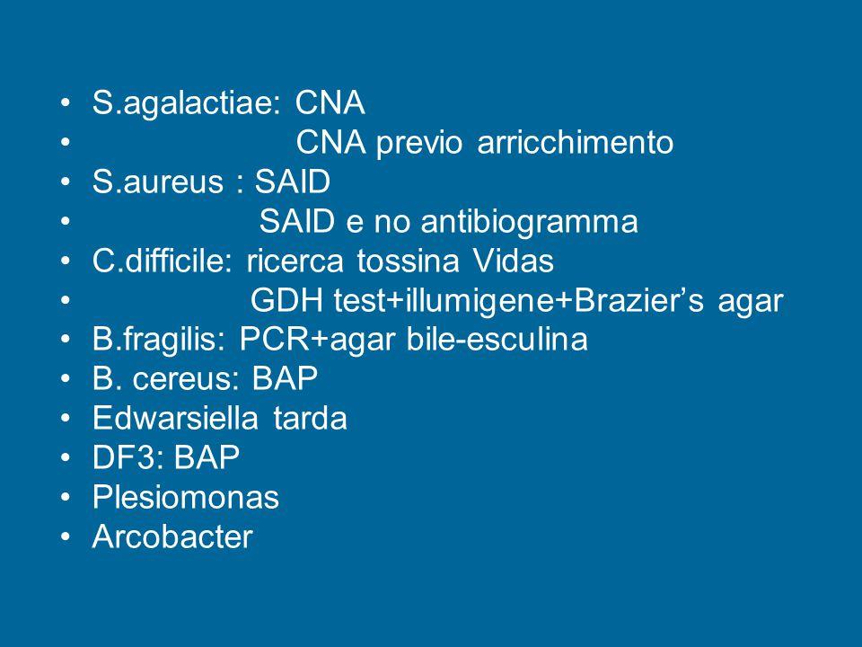 S.agalactiae: CNA CNA previo arricchimento S.aureus : SAID SAID e no antibiogramma C.difficile: ricerca tossina Vidas GDH test+illumigene+Brazier's agar B.fragilis: PCR+agar bile-esculina B.