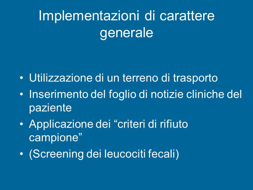 Implementazioni di carattere generale Utilizzazione di un terreno di trasporto Inserimento del foglio di notizie cliniche del paziente Applicazione dei criteri di rifiuto campione (Screening dei leucociti fecali)