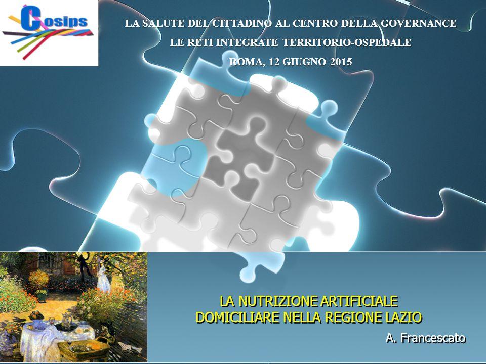 A. Francescato LA SALUTE DEL CITTADINO AL CENTRO DELLA GOVERNANCE LE RETI INTEGRATE TERRITORIO-OSPEDALE ROMA, 12 GIUGNO 2015 LA NUTRIZIONE ARTIFICIALE