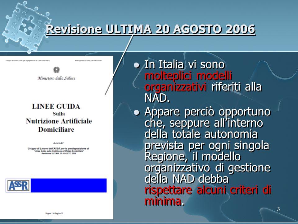 3 Revisione ULTIMA 20 AGOSTO 2006 In Italia vi sono molteplici modelli organizzativi riferiti alla NAD.