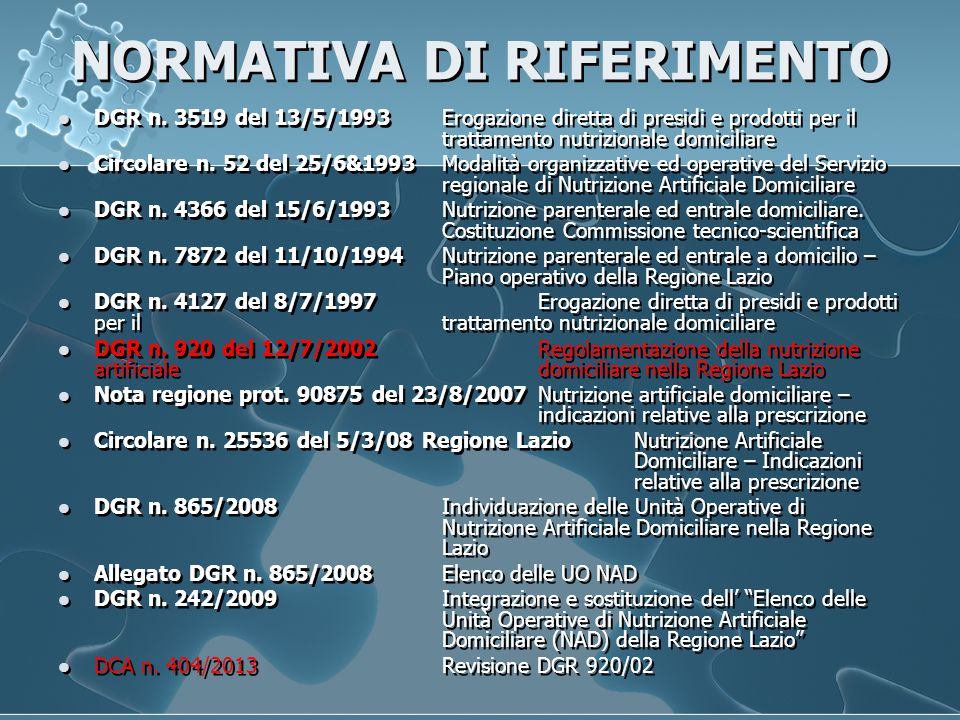 NORMATIVA DI RIFERIMENTO DGR n.