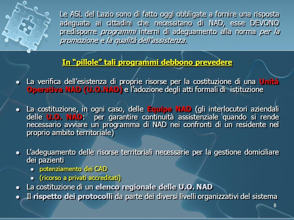 29 Funzioni HUB e funzioni Spoke UO - HUB consulenza specialistica (nutrizionista e dietista) per gli altri livelli aziendali, comprese le visite domiciliari degli assistiti verifica indicazione e fattibilità della NAD, prescrizione delle NAD monitoraggio delle NAD coordinamento con i CAD per l'erogazione integrata delle prestazioni censimento di tutte le NAD, anche di quelle prescritte da altre UO NAD della Regione Lazio Coordinamento del servizio reperibilità infermieristica (personale selezionato dei CAD) Funzione di Equipe NAD secondo la DGR n.